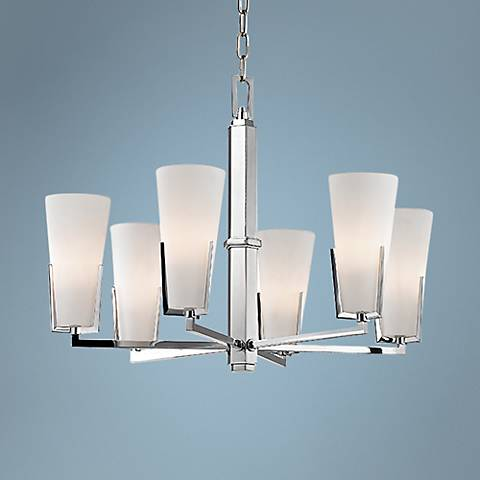 "Hudson Valley Upton 26"" Wide 6-Light Chrome Chandelier"