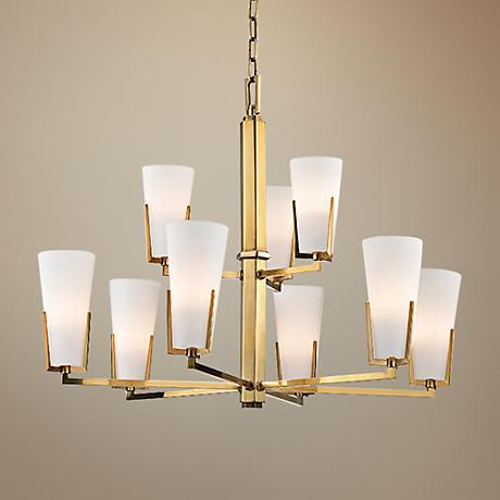 "Hudson Valley Upton 31 3/4"" Wide 9-Light Brass Chandelier"