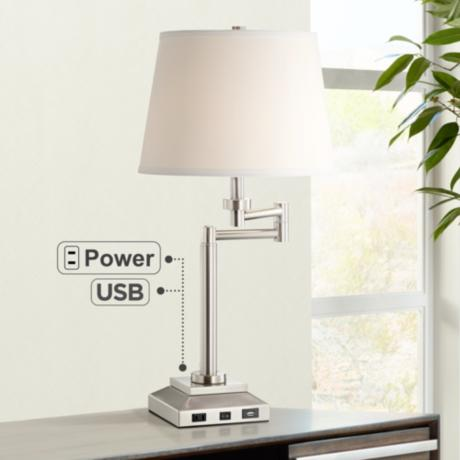 workstation desk lamp with outlet and usb ports 8n532 lamps plus. Black Bedroom Furniture Sets. Home Design Ideas