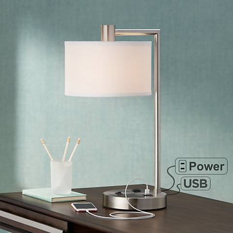 colby brushed nickel desk lamp with outlet and usb port. Black Bedroom Furniture Sets. Home Design Ideas