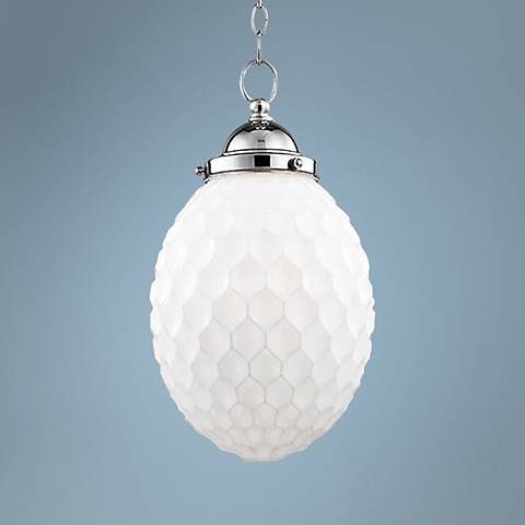 "Hudson Valley Columbia 10""W White Glass Nickel Mini Pendant"