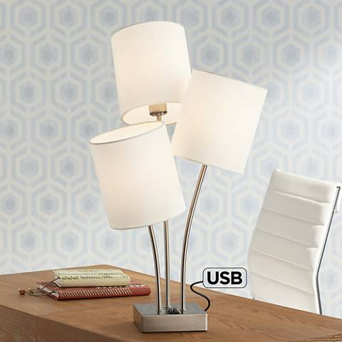 Triad 3-Light Metal Table Lamp with USB Port