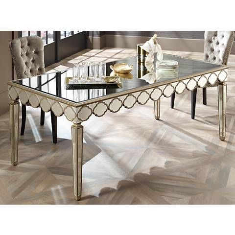 Stasia Gold and Beveled Mirror Dining Table