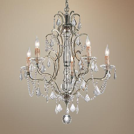 "Montparnasse 28""W Antique Silver Leaf 5-Light Chandelier"