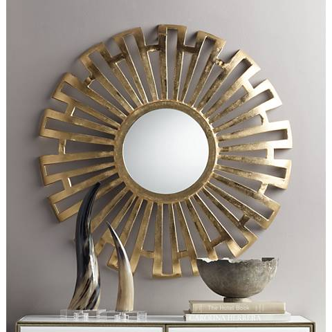 "Pendalosa Bright Gold 35"" Round Sunburst Wall Mirror"
