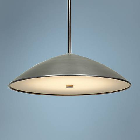 "Stealth 16 1/2"" Wide Modernist Brushed Steel Pendant"