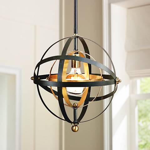 "Uttermost Rondure 15"" Wide Bronze and Brass Orb Pendant"