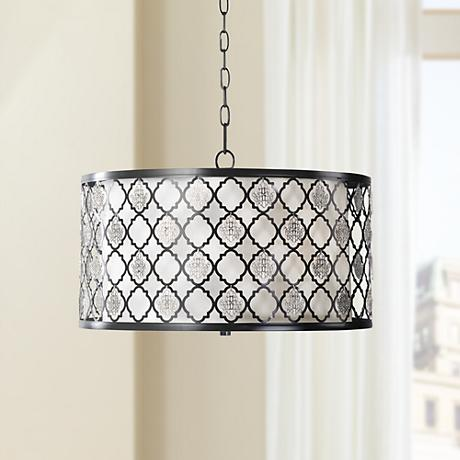 "Uttermost Filigree 20"" Wide Black and Silver Pendant"