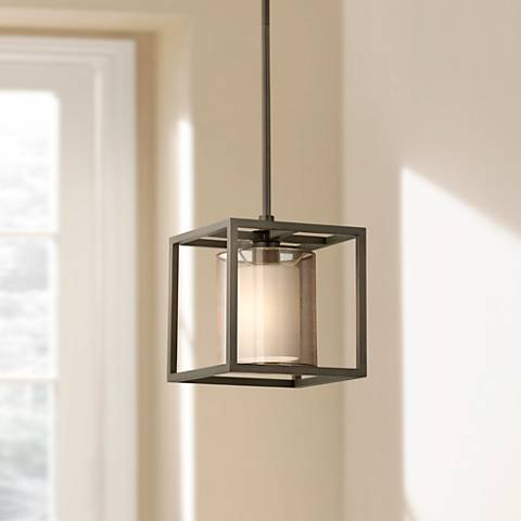"Conroe Oil-Rubbed Bronze Metal Cube 9"" Wide Mini Pendant"