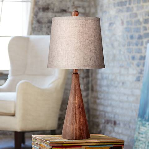 Darryl Wood Finish Rectangular Table Lamp 2x734 Lamps