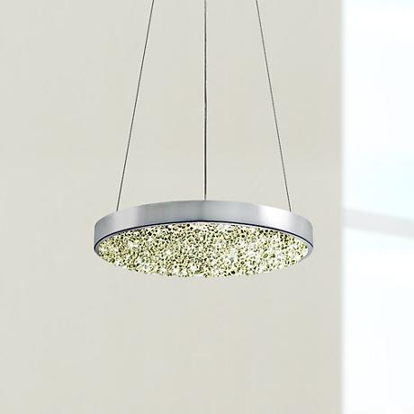 "Sonneman Dazzle 12"" Wide Fused Glass Chrome LED Pendant"