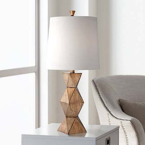 Olga Dark Gold Geometric Column Table Lamp