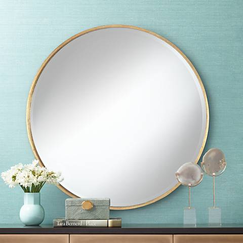 "Uttermost Junia Antique Gold 34"" Round Wall Mirror"