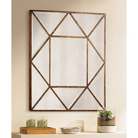 "Uttermost Tretten Bronze Geometric 34"" Square Wall Mirror"