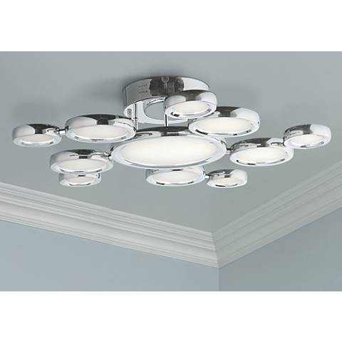 "ET2 Timbale 32"" Wide Polished Chrome LED Ceiling Light"