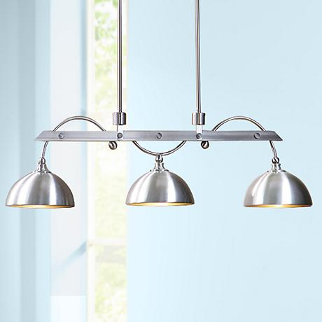 "Uttermost Malcolm 45"" Wide Nickel 3-Light Island Pendant"