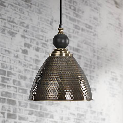 "Uttermost Adastra 12"" Wide Antique Brass Mini Pendant"