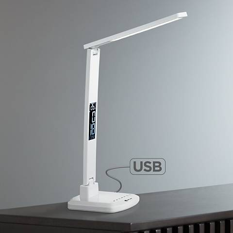 Dato III White Calendar Thermometer LED Desk Lamp