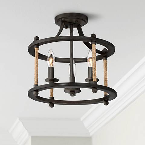 "Quoizel Frontier 13"" Wide Imperial Bronze Ceiling Light"
