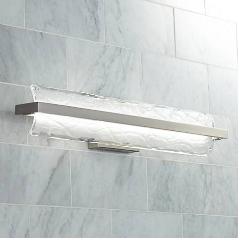"Platinum Glacial 30"" Wide Nickel LED Bathroom Lighting"