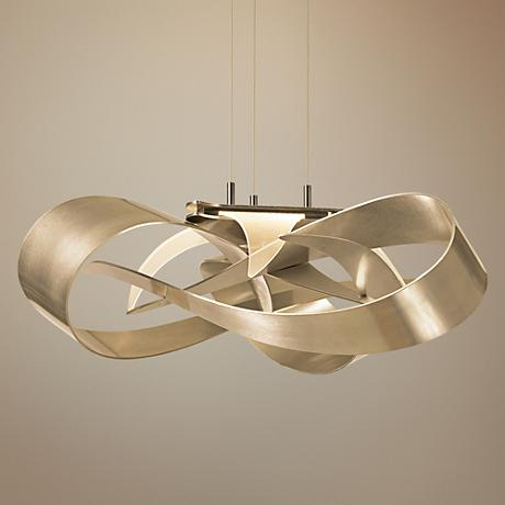 "Hubbardton Forge Flux 26 1/2""W Gold Ribbon LED Pendant"