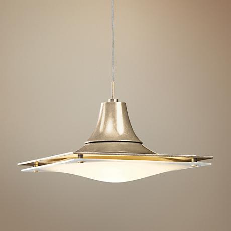 "Hubbardton Forge Hood Opal Glass 10""W Gold Mini Pendant"
