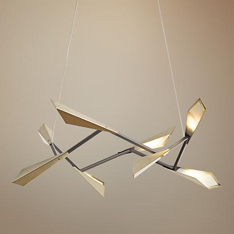 "Hubbardton Forge Quill 40""W Soft Gold Square LED Pendant"