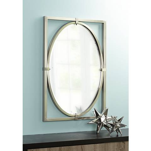 "Uttermost Kagami Brushed Nickel 23 3/4""x34"" Wall Mirror"