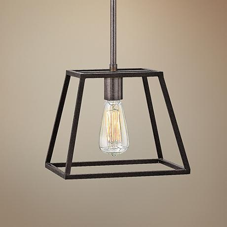 "Hinkley Fulton 10""W Tapered Cage Bronze Mini Pendant"