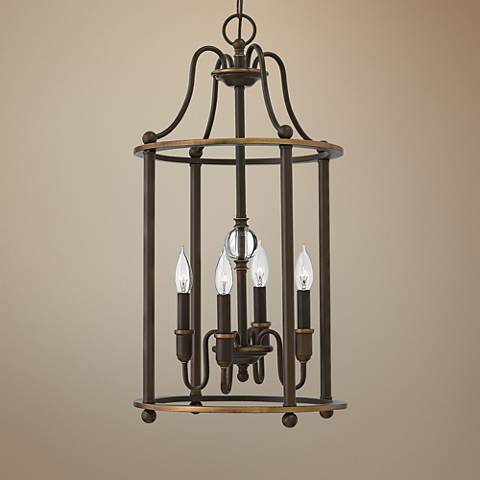 "Hinkley Elaine 14"" Wide 4-Light Oiled Bronze Chandelier"