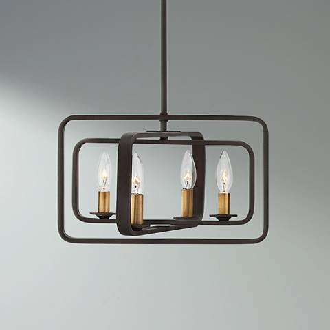 "Hinkley Quentin 15""W 4-Light Buckeye Bronze Foyer Pendant"