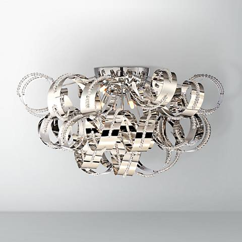 "Quoizel Ribbons 27 1/2"" Wide Crystal Chrome Ceiling Light"