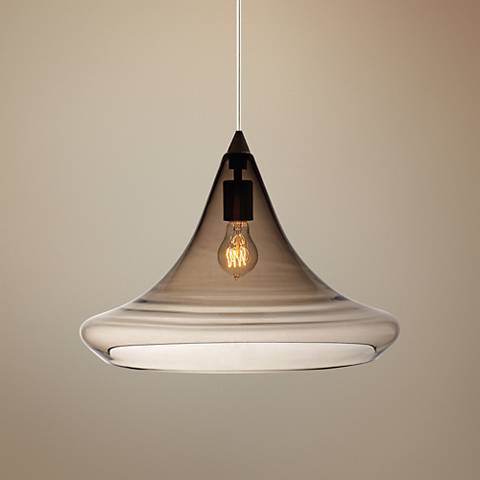 "Mali 19"" Wide Smoke Glass Satin Nickel Pendant Light"