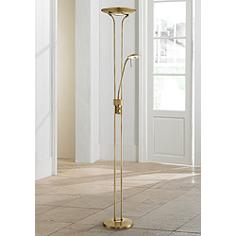 Lite Source Duality III Antique Brass LED Reading Floor Lamp