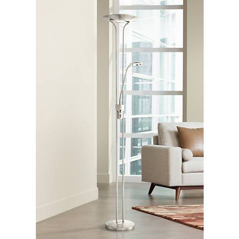 Lite Source Duality III Polished Steel LED Reading Floor Lamp