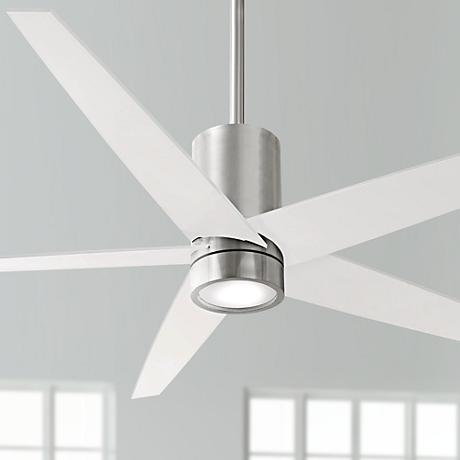 "56"" Minka Aire Symbio White - Nickel LED Ceiling Fan"