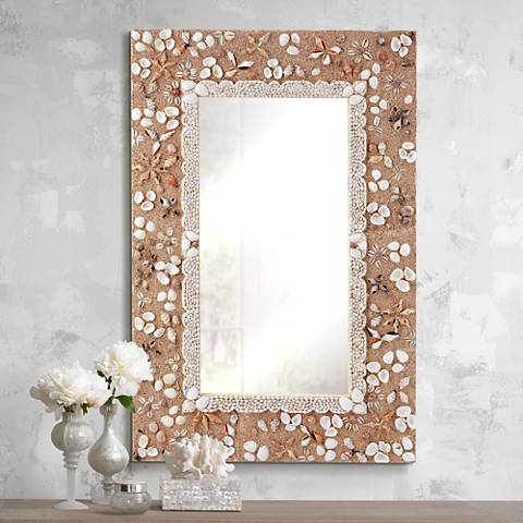 "Beach Street Sand 28""x40"" Shell Wall Mirror"