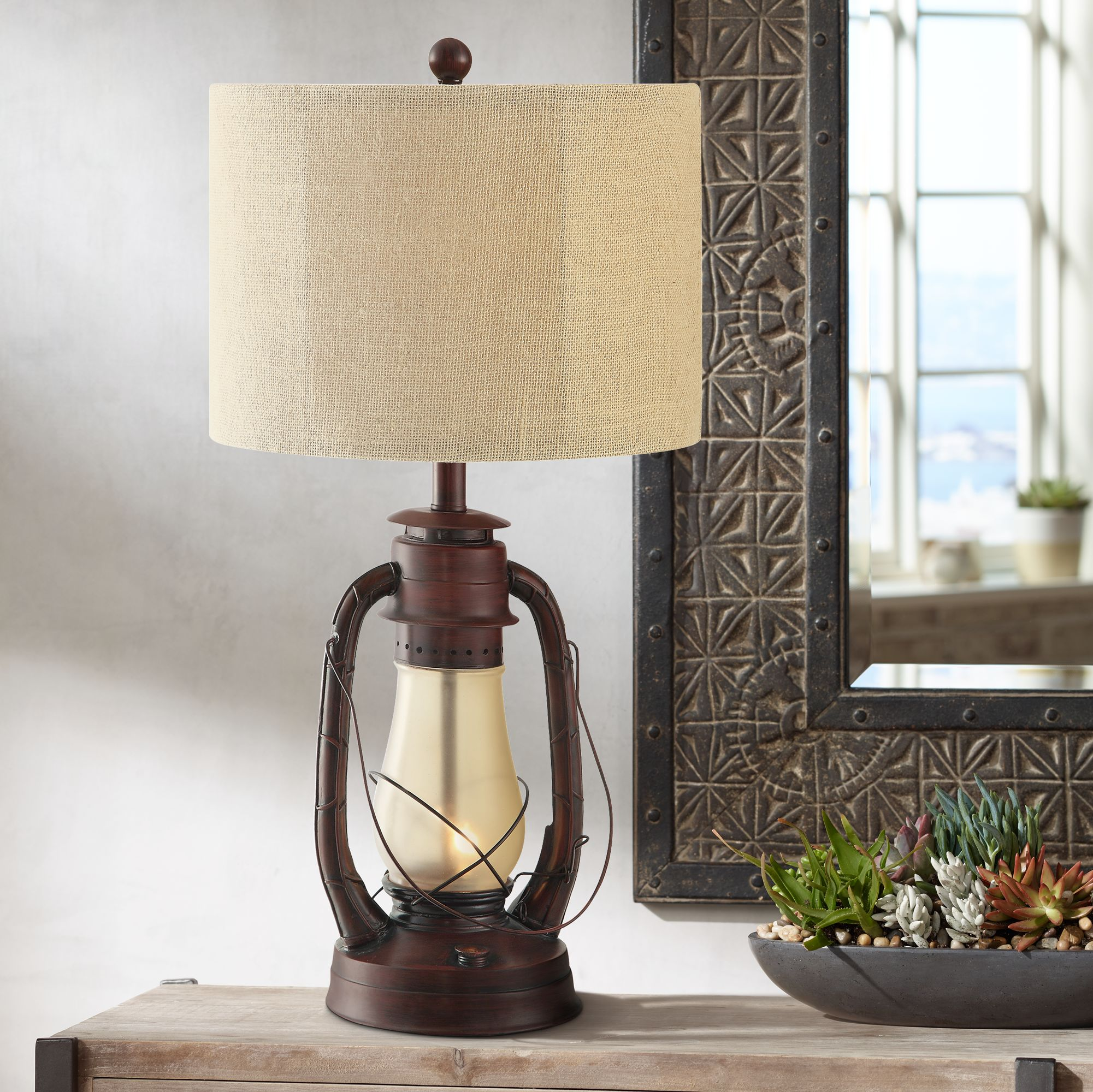 Superb Crestview Rustic Red Lantern Table Lamp With Nightlight