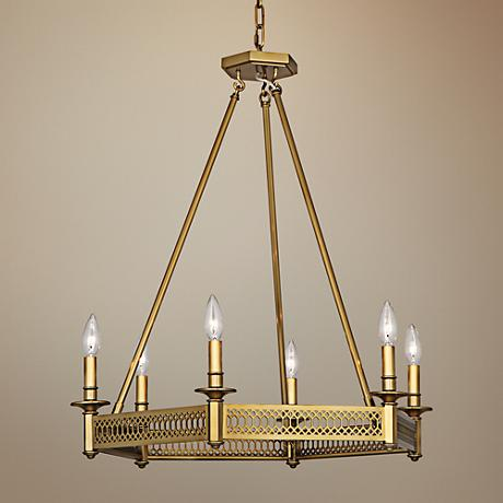 "Tucker 26 3/4""W Antique Brass Octagonal Chandelier"