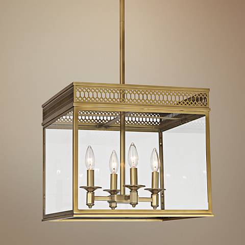 "Tucker 16 3/4"" Wide Brass Square Chandelier"