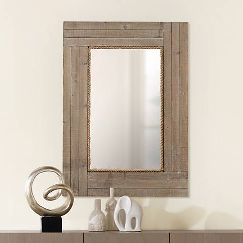 "Hatteras Driftwood Gray Wash 30""x41 1/2"" Wall Mirror"