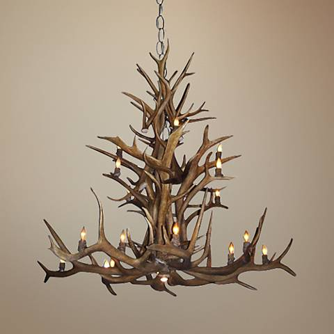 "Antler 47-50""W Natural-Shed Elk 15-Light Chandelier"