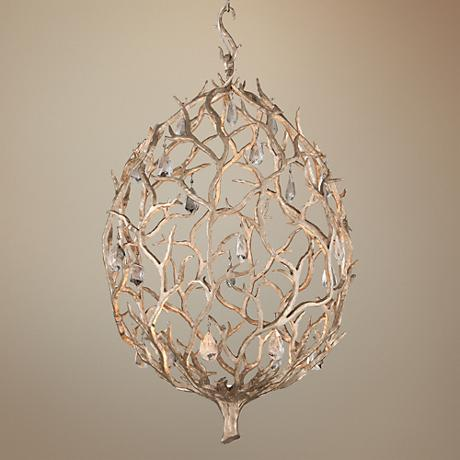 "Corbett Enchanted 26"" Wide Silver Leaf LED Pendant Light"