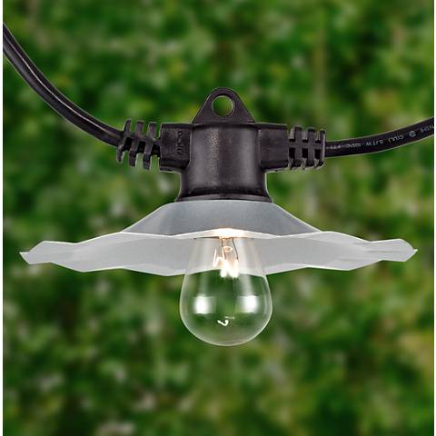 European Cafe 21-Light Galvanized Shade 100' String Light