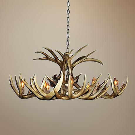 "Antler 26"" Wide Natural-Shed Whitetail 8-Light Chandelier"