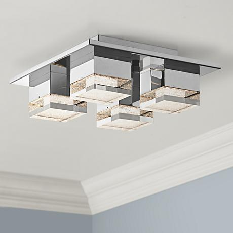 "Elan Gorve 12"" Wide Chrome LED Ceiling Light"