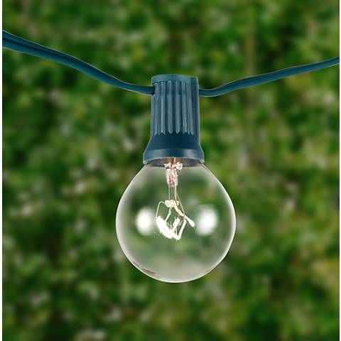 String Lights Lamps Plus : Clear 24-Bulb Green Wire 25 Holiday Party String Light - #8W208 Lamps Plus