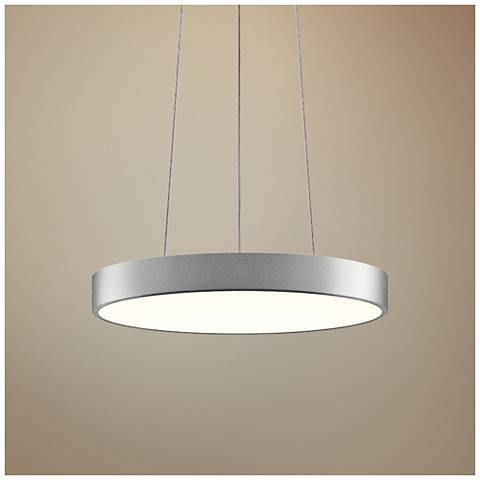 "Pi 16"" Wide Bright Satin Aluminum LED Pendant Light"