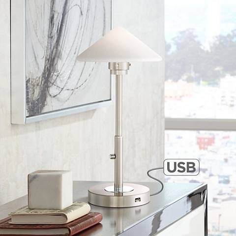 Possini Euro Kanan Satin Nickel LED Desk Lamp with USB Port