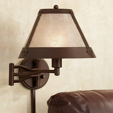 Samuel Blonde Mica Mission Swing Arm Wall Lamp 8w902
